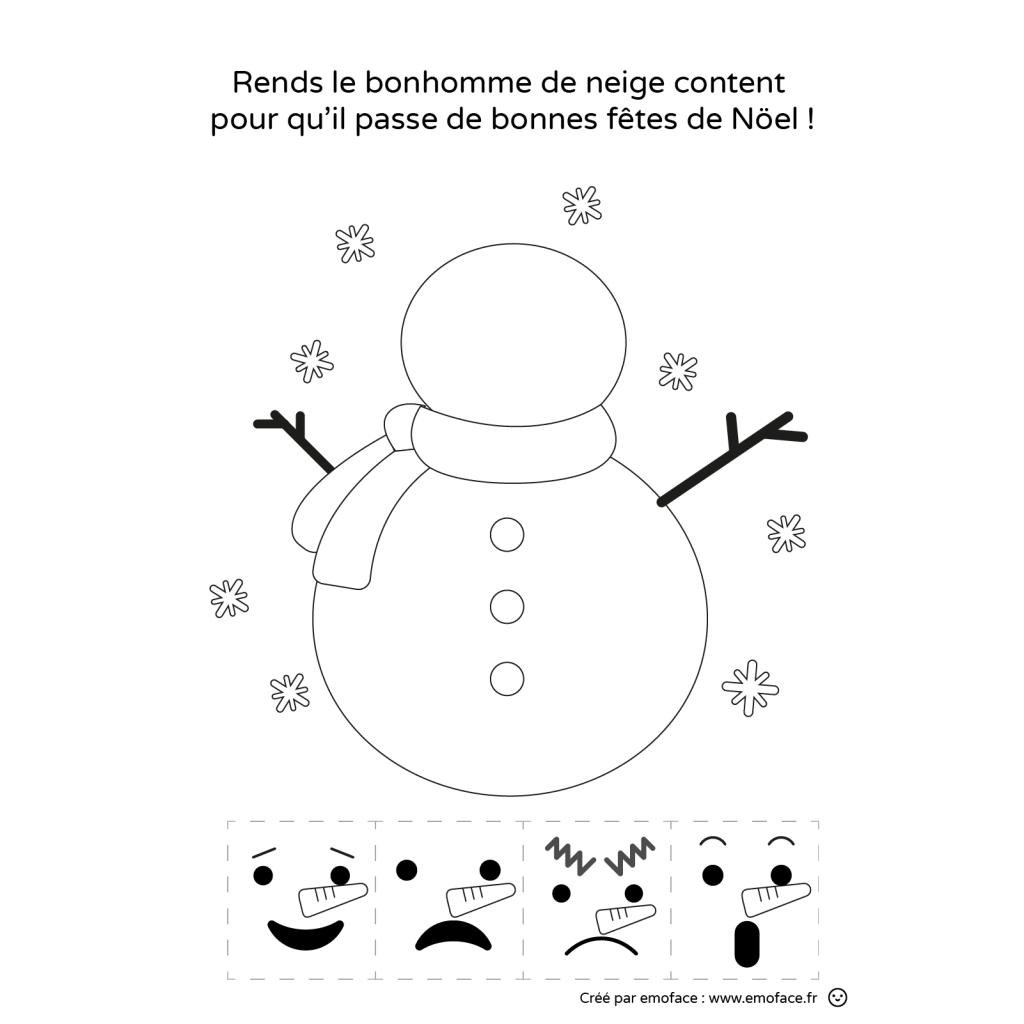 Activité de Noel : bonhomme de neige et les émotions
